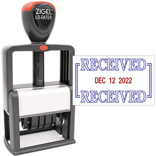 ZIGEL Heavy Duty Style Self Inking Date Stamp with Received - Style B - Blue/Red 2 Color Ink