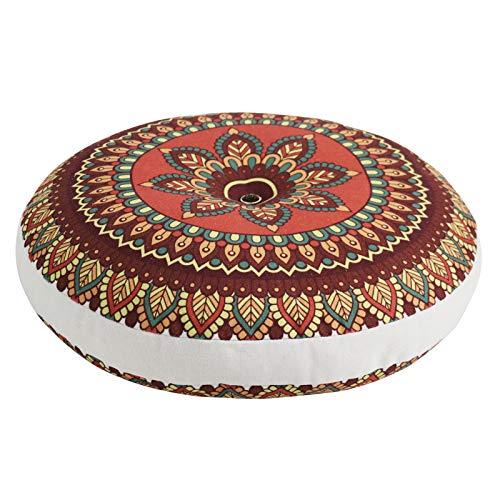 Tiita Decorative Floor Pillows Large Seat Pad for Sitting Indian Mandala Floor Cushion Meditation Seating Stuffed Pouf Ottoman, Orange Mandala