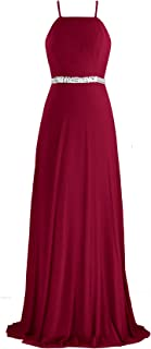 Women's Adjustable Spaghetti Straps Beaded Criss-Cross Open Back Tulle Sexy Formal Ball Evening Gown Long Dress