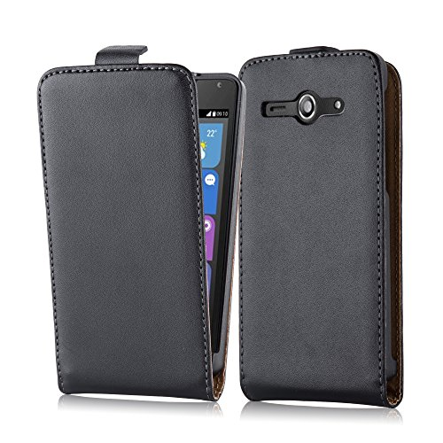 Cadorabo Hülle für Huawei Ascend Y530 - Hülle in KAVIAR SCHWARZ – Handyhülle aus glattem Kunstleder im Flip Design - Case Cover Schutzhülle Etui Tasche