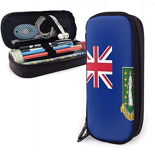 La bandera de las Islas Vírgenes Británicas PU Funda de lápiz de cuero Compartimento personalizado Bolsa de cosméticos Organizador de almacenamiento multipropósito