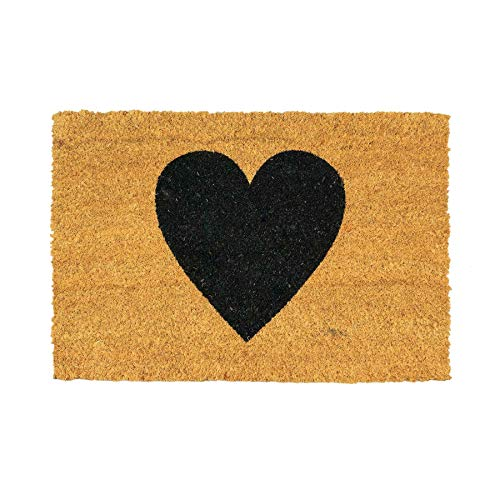 Nicola Spring Felpudo Antideslizante - Diseño de corazón Negro - Fibra de Coco con Reverso de PVC - 90 x 60cm