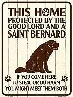 Smart Blonde ビンテージ風 英語版 おしゃれな 猛犬注意の看板 プレート 犬がいます 屋外OK 錆びないアルミ製 (ラージ(30.5x46cm), セントバーナード)