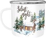 Autiga - Taza de café (esmaltada), diseño navideño, esmalte metal, Silent Night - Lámpara de techo (metal y metal), color blanco, talla única