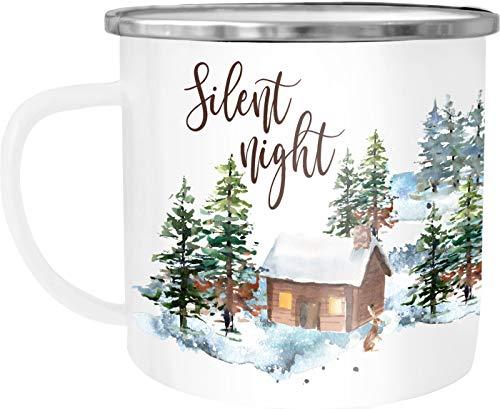 Autiga Emaille Tasse Becher Weihnachten Silent night Winter Schnee Christmas Weihnachtstasse Kaffee-Tasse weiß-metall unisize