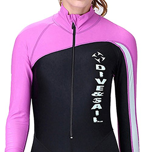 DIVE&SAIL Women UV Protection Wetsuit Shorty Pants Long Sleeve Diving Suit for Snorkeling, Swimming and Scuba Diving S Purple