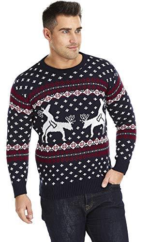 UglyXmas Il miglior Maglione di Natale per Fare Il più Bel Regalo di Sempre Meravigliose Renne per Un Design frizzante con i Gioco di Immagini umoristico, Design   Maglione Unisex, Spesso