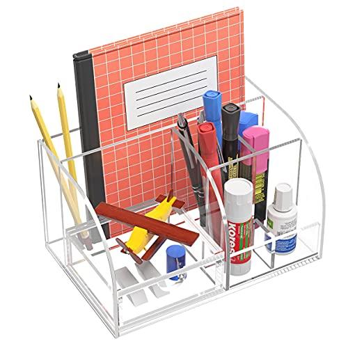 FEMELI デスクオーガナイザー アクリル製 ペン立て 小物収納 卓上収納 リモコンスタンド おしゃれ 小物入れ 机上用(透明)