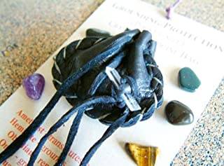 GROUNDING / PROTECTION CRYSTAL MEDICINE BAG Small Pocket Size (1.5 x 1.75 inch / 38 x 44 mm) Soft Deer Skin Leather Pouch with Reiki Gemstones for Spiritual Healing, Native Heritage uses, Metaphysical, New Age, Meditation, Indian, Reiki, Wicca, Fung Shui, Hindu, Japanesse, Chinese, Naturopathy, Homeopathy, Alternative Medicine, etc. Special Gemstone Mix Includes Information Card and Affirmation