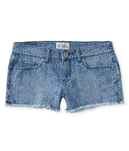 Aeropostale Women's Shorty Jean Shorts Medium Wash Floral 0391 9/10