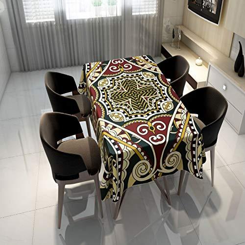 Mantel de poliéster sólido estampado floral moderno redondo mantel de boda restaurante fiesta (multicolor) 140 x 200 cm