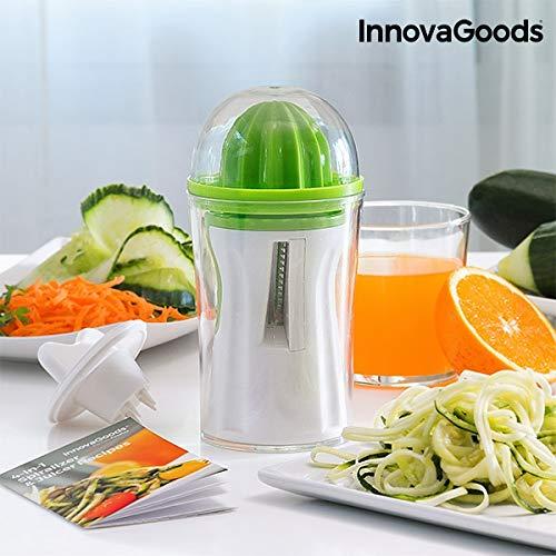 InnovaGoods IG811297 Cortador de Verduras y Exprimidor 4 en 1 con Recetario, Verde