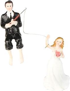 Toyvian Wedding Cake Topper Bride Groom Figurine Resin Cake Topper for Wedding Engagement Party
