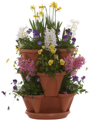 Terracotta Color 3-Tier Stacking Planter - Vertical Gardening for...