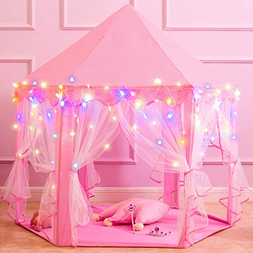 """Princess Castle Play Tents for Girls, Kids Play Tent with Star Lights, Bonus Princess Tiara and Wand, Large Size 55"""" x 53"""" Pink Hexagon Kids Playhouses Indoor & Outdoor, Girl Toy Gifts Age 3+"""