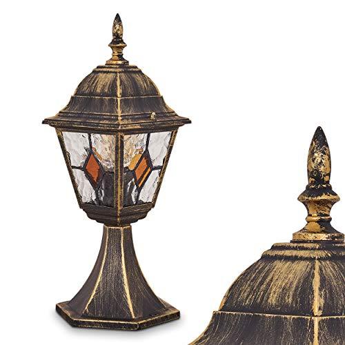 Lampada da Terra Esterno Modello Antibes- Lampioncino da Giardino Illuminazione Viale- Lampione Design Classico Vintage Paralumi Vetro Decorati