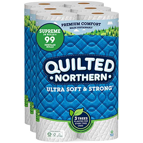 Quilted Northern Ultra Soft & Strong Toilet Paper, 24 Supreme Rolls = 99 Regular Rolls, 2-ply Bath Tissue
