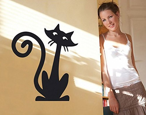 Sylvia Freidler Wand Aufkleber No. SF163Funny cat, Farbe: Weiß; Größe: 34cm x 30cm