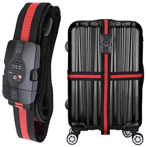 WindTookスーツケースベルト ダイヤル式 TSAロック付き 荷物梱包バンド 十字型 長さ調整 旅行 海外...