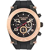 Mulco Kripton Viper Quartz Multifunction Movement Men's Watch | Premium Analog Display with Rose Gold Accents | Silicone Watch Band | Water Resistant Stainless Steel Watch (Black/Rosegold)
