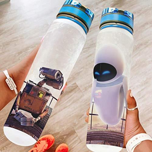 Generic Branded Dibujos animados robot deportes botella de agua grande botella de viaje a prueba de fugas regalos para amigos blanco 1000ml