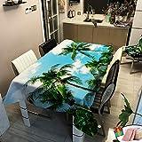 Morbuy Tischdecke Gartentisch Wasserdicht, Quadratisch/Rechteckig Fleckschutz 3D Drucken Tischtuch Abwischbar Abwaschbar für Küche Speisetisch Garten Outdoor (Grüne Palme,140x200cm)