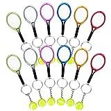 Comius 12 Pièces Mini-Balle De Tennis Raquette Pendentif Porte-clés Métal Cadeau Keyring, Mini Raquette Tennis avec Porte-clé en Alliage créatif Porte-clefs Keychain Cadeau pour Les Amateurs