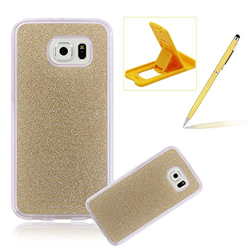 Cover for Galaxy S7 Edge,Rubber Case for Galaxy S7 Edge,Herzzer Super Slim [Gold Gradient Color Changing] Dust Resistant Soft Flexible TPU Bling Glitter Protective Case