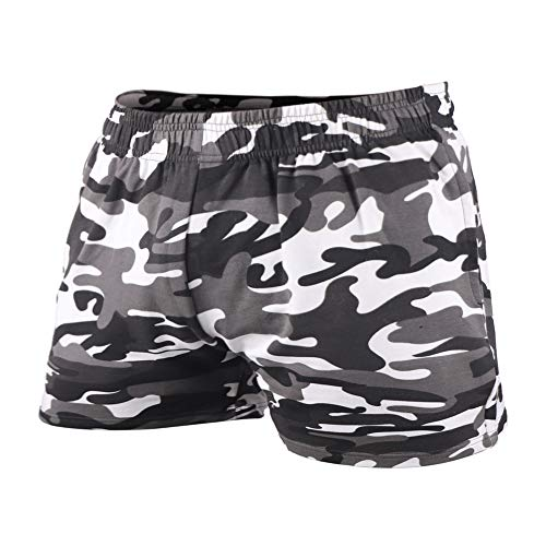 GYMAPE Men's Fitness Workout Shorts, Raw Edge in Bottom, Unique Fashion in Gym or Workout Color Camo Black Size L