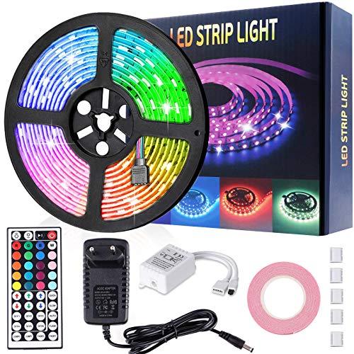 Striscia LED 5M, 150 LEDs 5050 RGB IP65 Impermeabile Colorate, Controllato da Telecomando IR, per Camera da Letto, TV Retroilluminazione, Festival, Decorazioni per Feste
