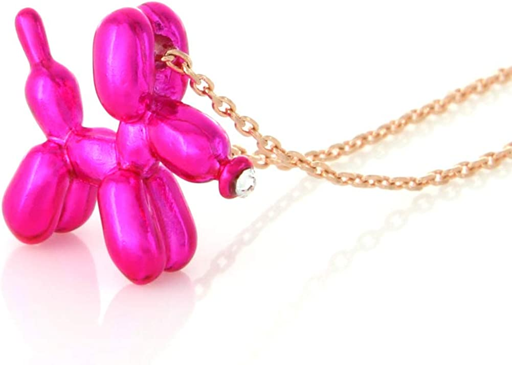 LAONATO Balloon Dog Necklace Epoxy Plated Chain, 17 inches