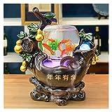 Xu Yuan Jia-Shop Fuente 18.1 Pulgadas de Escritorio Relajación Cascada Cascada Fuente de Resina Hecha a Mano Fountain Feng Shui Wheel Tea Sala de té Decoración de Escritorio Fuente de Interior