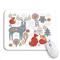 可愛いマウスパッド ピンクの美しいクリスマススノーフレークパターン冬のブリザードボーダー輝度ノンスリップラバーバッキングコンピュータマウスパッド用ノートブックマウスマット