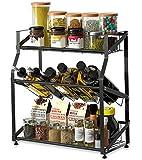 Kitchen Spice Rack Organizer,Stainless Steel 3-Tier Kitchen Organizer,Countertop Freestanding Shelf Organizer for Jars, Bottles, etc (Black)