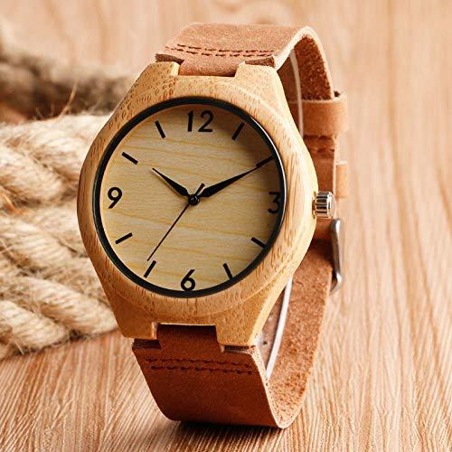 UIOXAIE Reloj de Madera Relojes de Madera de bambú de Lujo, Correa de Cuero Genuino de primeras Marcas, Reloj de Pulsera de Cuarzo Informal, Madera Natural marrón, Mujeres, Hombres