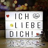 LED Lichtbox, Light Box A4, Leuchtkasten mit 196 Buchstaben, 28 Weiß Symbole und 55 Bunten Emoji...