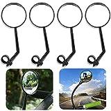 WENTS Espejo para Bicicleta 4 Pieza Espejo Retrovisor para Bicicleta con rotación de 360 Grados y Ajustable Retrovisor para Bicicleta para Bicicleta, Moto y Bicicleta de montaña(Negro)