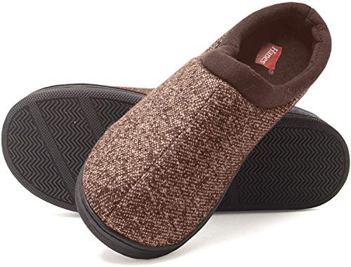 Hanes boys Clog House Shoe With Indoor Outdoor Memory Foam Sole Fresh Iq Odor Protection Slipper, Brown, Medium Little Kid US
