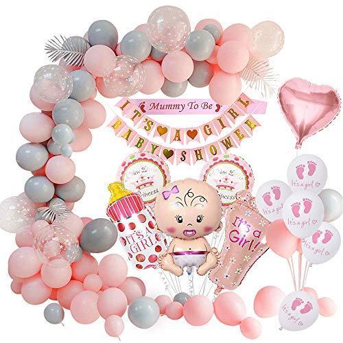 MMTX Baby Shower Decoraciones niña, globos fiesta para baby shower para la momia para ser faja, pancartas para baby shower, globo papel aluminio par Mamá para ser revelación de género (59 piezas)