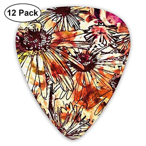 Flores coloridas abstractas Arte digital Púas de guitarra 12 púas de ukelele, incluyendo 0.46 mm, 0.71 mm, 0.96 mm Guitarra acústica