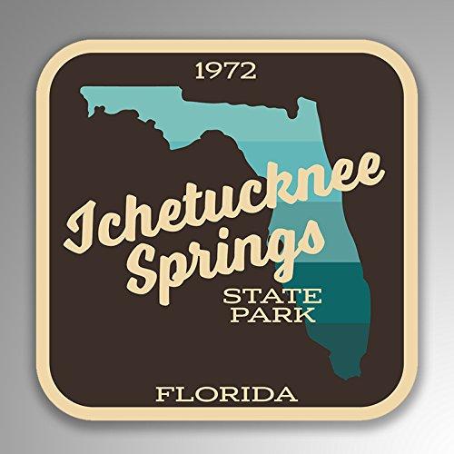 JMM Industries Ichetucknee Springs State Park Florida vinilo calcomanía retro aspecto vintage 2 paquetes de 4 pulgadas por 4 pulgadas laminado protector UV de calidad premium SPS031