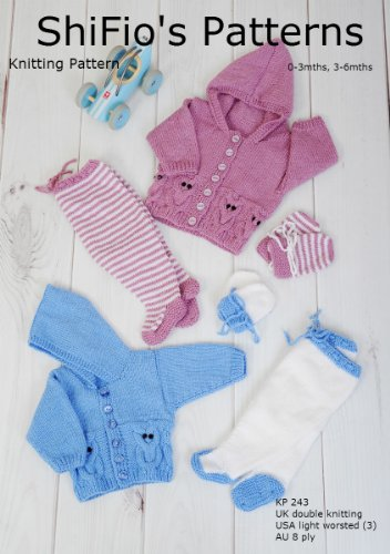 Knitting Pattern  KP243  Owl Cable Baby Jacket Leggings and mitts   03mths 36mths