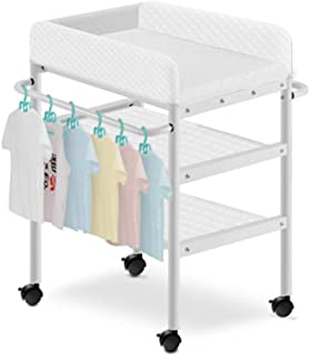 Portable Changing Mats Diaper Table Newborn Care Table Baby Massage Table Baby Folding Bath Stand (Color : White, Size : 85 * 50 * 93cm)