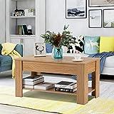 Levante la mesa de centro superior con almacenamiento y sala de estar estante (roble)