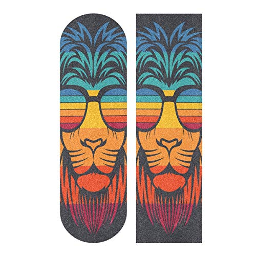 Skateboard Grip Tape Sheet 33 X 9 Inch - Colorful Sunglasses Lion Sandpaper for Rollerboard Longboard Griptape Bubble Free Grip Tape for Skateboard