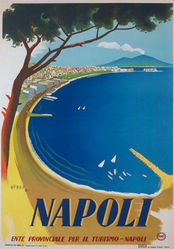 "TV86 Vintage 1942 NAPOLI Naples Italy Italian Travel Poster Re-Print - A3 (432 x 305mm) 16.5"" x 11.7"""