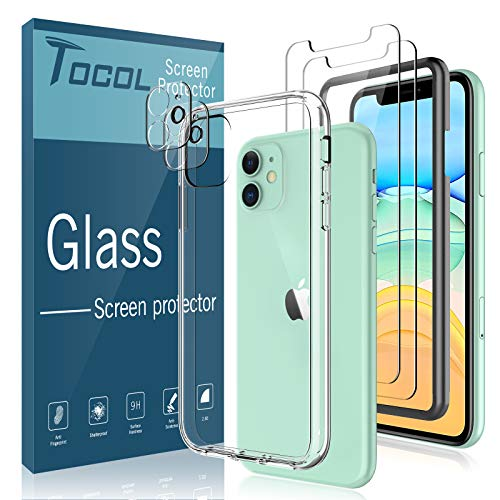 Total 5 Pack TOCOL Compatible for iPhone 11 6.1 inch Acrylic Case with Tempered Glass Screen Protector 2 Pack and Tempered Glass Camera Lens Protector 2 Pack HD Clear Double Protection