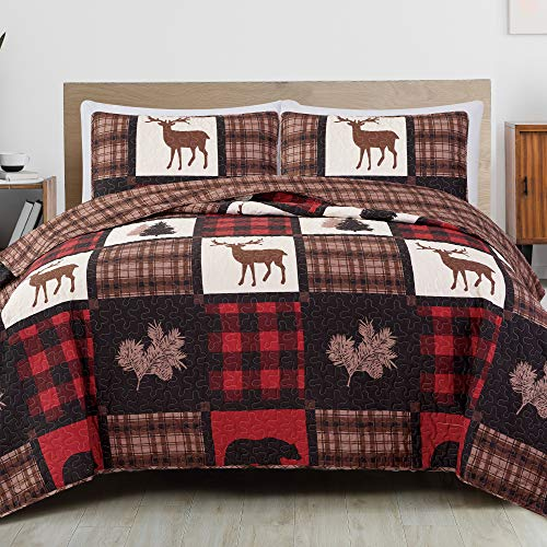 Great Bay Home Lodge Bedspread Full/Queen Size Quilt with 2 Shams. Cabin 3-Piece Reversible All Season Quilt Set. Rustic Quilt Coverlet Bed Set. Stonehurst Collection. (Red/Black)