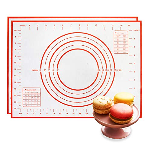 FANPOYOR Siliocne Pastry Baking Mat Set of 2,Reusable, Non-Slip,Non- Stick Easy to Clean Pastry Mat with Measurements,Perfect Bakeware for Making Cookies Macarons, Pizza and Pastry 15.7 x 11.8 Inch