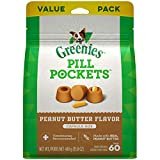 GREENIES PILL POCKETS for Dogs Capsule Size Natural Soft Dog Treats with Real Peanut Butter, 15.8 oz. Pack (60 Treats)